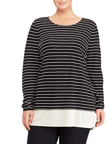 Lauren Ralph Lauren Plus Striped Jersey Top-BLACK-2X 88967683_BLACK_2X