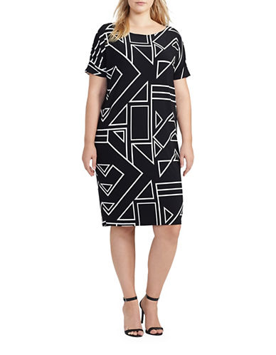 Lauren Ralph Lauren Plus Geometric-Print Jersey Dress-BLACK-1X 88967685_BLACK_1X
