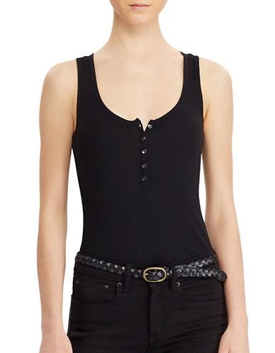 Denim & Supply Ralph Lauren Sleeveless Henley Bodysuit-BLACK-Large 89103800_BLACK_Large