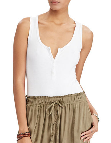 Denim & Supply Ralph Lauren Sleeveless Henley Bodysuit-WHITE-Large