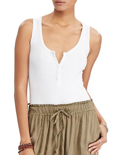 Denim & Supply Ralph Lauren Sleeveless Henley Bodysuit-WHITE-X-Small 89103808_WHITE_X-Small