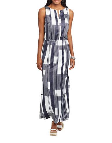 Chaps Geometric-Print Crepe Gown-CREAM/BLACK-2