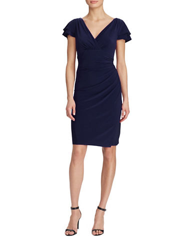 Lauren Ralph Lauren Brisa Flutter-Sleeve Jersey Sheath Dress-LIGHTHOUSE/NAVY-4