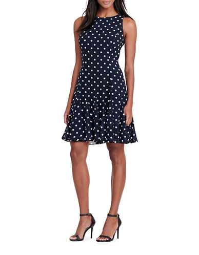 Lauren Ralph Lauren Polka-Dot Fit-and-Flare Dress-MULTI-14