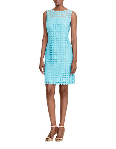 Lauren Ralph Lauren Geometric-Lace Sheath Dress-BLUE-14