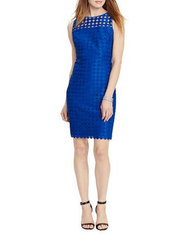Lauren Ralph Lauren Geometric Lace Sheath Dress-BLUE-8