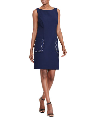 Lauren Ralph Lauren Stretch Shift Dress-NAVY-18