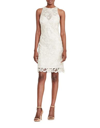 Lauren Ralph Lauren Lace Sheath Dress-CHAMPAGNE-12