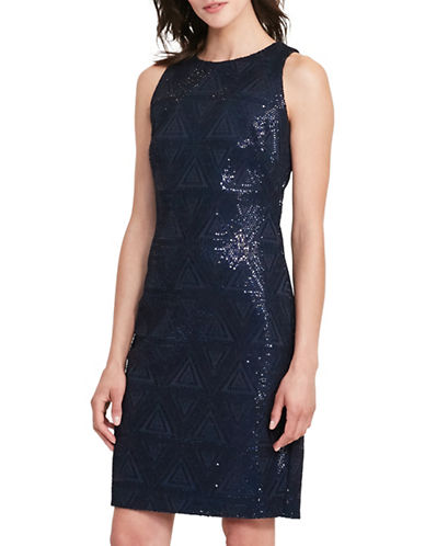 Lauren Ralph Lauren Sequined Sheath Dress-BLUE-14