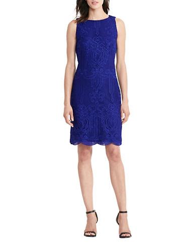 Lauren Ralph Lauren Lace Sleeveless Sheath Dress-BLUE-8