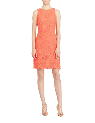 Lauren Ralph Lauren Lace Sheath Dress-ORANGE-14