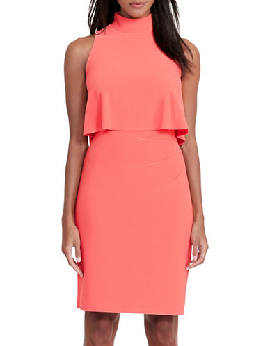 Lauren Ralph Lauren Layered Jersey Sheath Dress-ORANGE-18 89146970_ORANGE_18