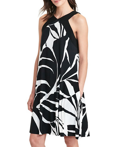 Lauren Ralph Lauren Tropical-Print Trapeze Jersey Dress-BLACK/WHITE-14