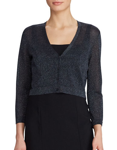 Lauren Ralph Lauren Slim-Fit Chesca Metallic Cropped Cardigan-BLACK-Large 89278624_BLACK_Large