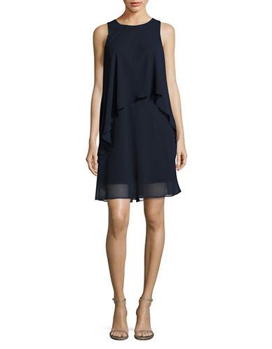 Lauren Ralph Lauren Georgette Overlay Shift Dress-NAVY-12