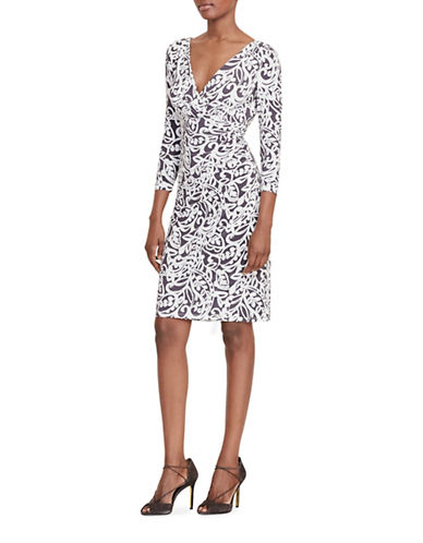Lauren Ralph Lauren Paisley Jersey Dress-GREY/WHITE-0