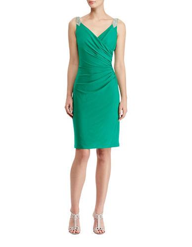 Lauren Ralph Lauren Sleeveless Beaded Strap Jersey Dress-GREEN-6