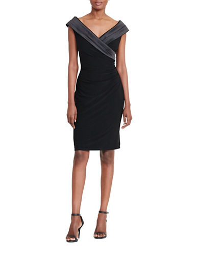 Lauren Ralph Lauren Satin-Collar Jersey Dress-BLACK-6