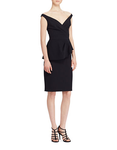 Lauren Ralph Lauren Peplum Crepe Dress-BLACK-10