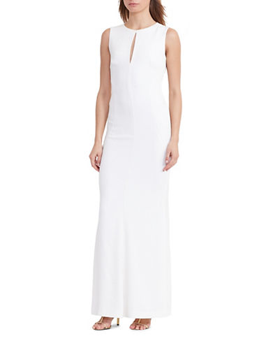 Lauren Ralph Lauren Cut-Out Stretch Crepe Gown-WHITE-14