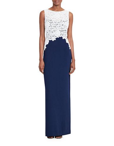 Lauren Ralph Lauren Lace-Bodice Crepe Gown-BLUE-12