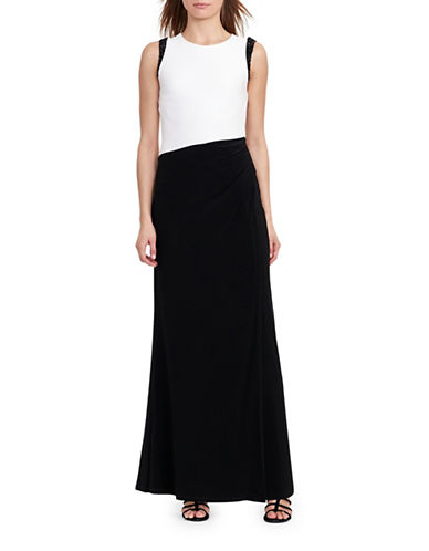Lauren Ralph Lauren Colourblocked Evening Gown-BLACK-10