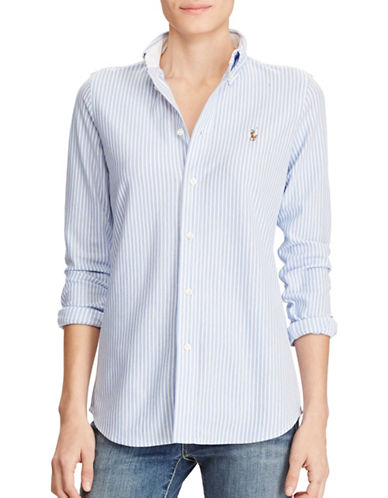 Polo Ralph Lauren Striped Knit Oxford Cotton Button-Down Shirt-BLUE-Large