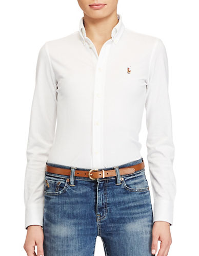 Polo Ralph Lauren Knit Oxford Shirt-WHITE-Medium