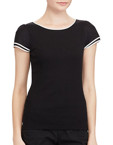 Lauren Ralph Lauren Ella Rib Knitted Cotton Tee-BLACK-Medium 89133793_BLACK_Medium