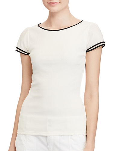 Lauren Ralph Lauren Ella Rib Knitted Cotton Tee-WHITE-Large 89133797_WHITE_Large