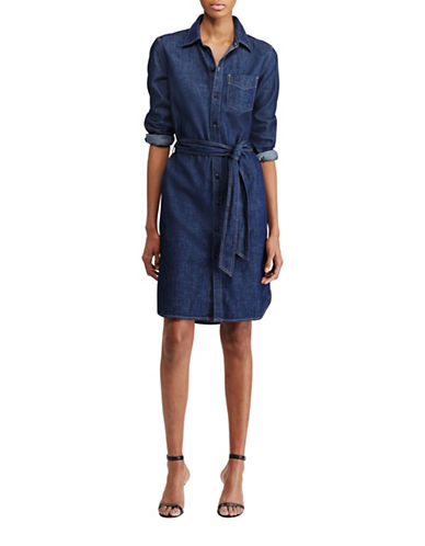 Lauren Ralph Lauren Denim Shirtdress-BLUE-Small