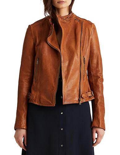 Lauren Ralph Lauren Leather Moto Jacket-BROWN-16