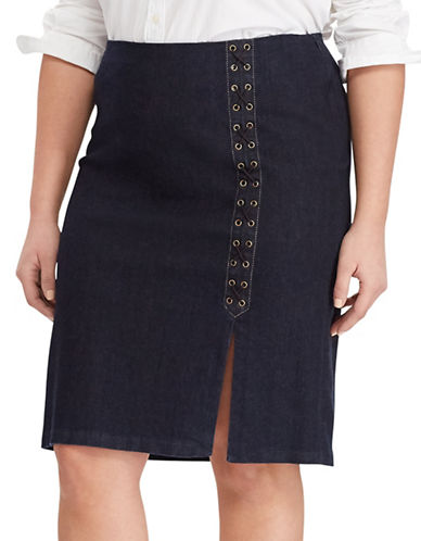 Lauren Ralph Lauren Plus Lace-Up Denim Pencil Skirt-BLUE-22W