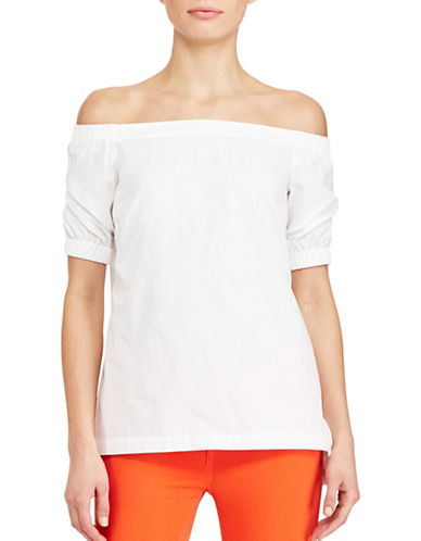 Lauren Ralph Lauren Cotton Off-the-Shoulder Top-WHITE-Medium 89063357_WHITE_Medium
