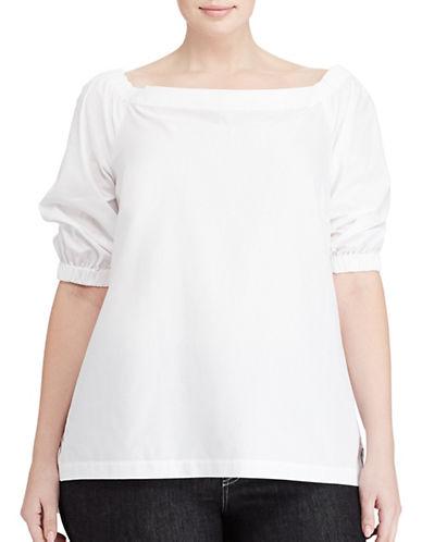 Lauren Ralph Lauren Plus Cotton Off-the-Shoulder Top-WHITE-1X