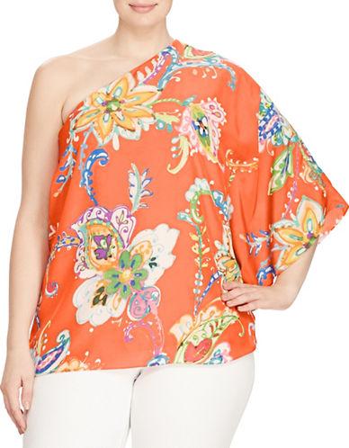 Lauren Ralph Lauren Plus Floral Crepe One-Shoulder Top-ORANGE-3X