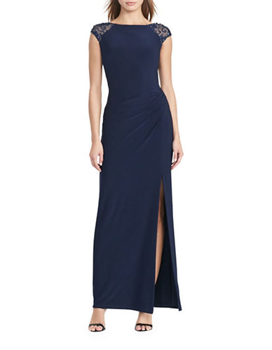 Lauren Ralph Lauren Sequined V-Back Gown-BLUE-10
