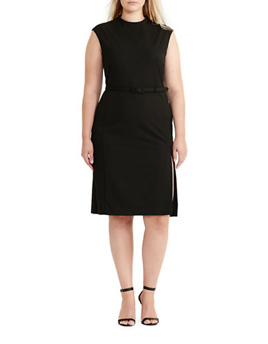 Lauren Ralph Lauren Plus Mock Neck Sheath Dress-BLACK-16W 89072185_BLACK_16W