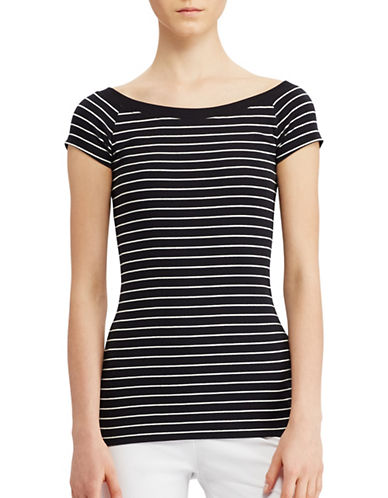 Lauren Ralph Lauren Striped Off-the-Shoulder Tee-BLACK-X-Large 89063300_BLACK_X-Large