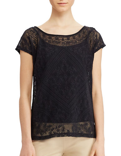 Lauren Ralph Lauren Embroidered Sheer Tee-BLACK-Large 89063429_BLACK_Large