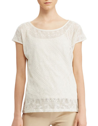Lauren Ralph Lauren Embroidered Sheer Tee-WHITE-Large 89063434_WHITE_Large