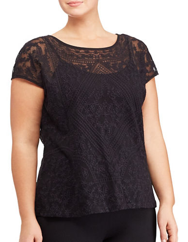 Lauren Ralph Lauren Plus Embroidered Sheer Tee-BLACK-2X 89072190_BLACK_2X