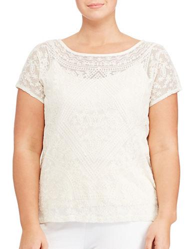Lauren Ralph Lauren Plus Embroidered Sheer Tee-WHITE-1X 89072192_WHITE_1X