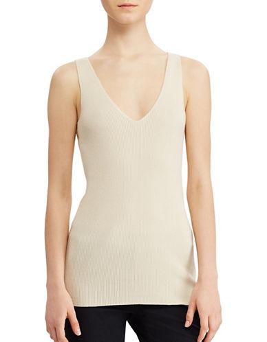 Lauren Ralph Lauren V-Neck Sleeveless Sweater-BEIGE-Medium 89063204_BEIGE_Medium