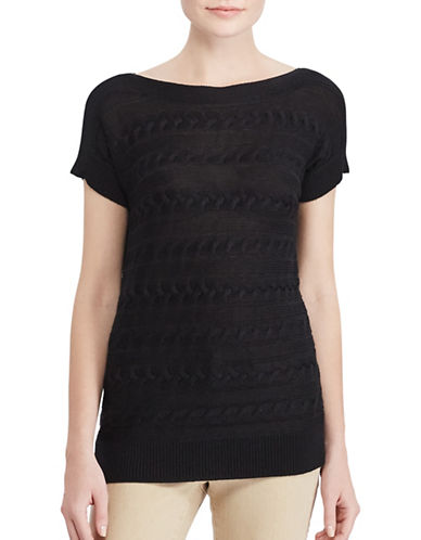 Lauren Ralph Lauren Cable Short-Sleeve Sweater-BLACK-X-Small 89063212_BLACK_X-Small