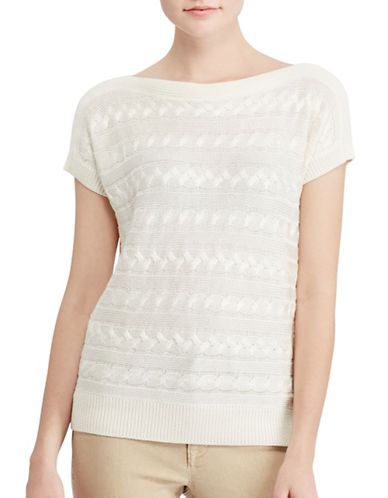 Lauren Ralph Lauren Cable Short-Sleeve Sweater-WHITE-Large 89063213_WHITE_Large