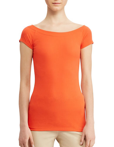 Lauren Ralph Lauren Cotton Off-the-Shoulder Tee-ORANGE-Large 89063246_ORANGE_Large
