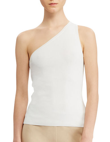 Lauren Ralph Lauren One-Shoulder Top-WHITE-Medium 89063253_WHITE_Medium