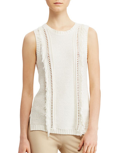 Lauren Ralph Lauren Fringe Sleeveless Sweater-WHITE-Large