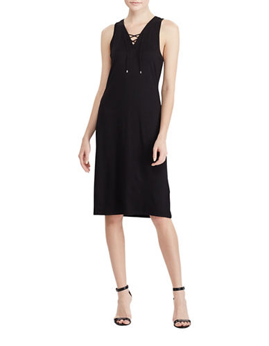 Lauren Ralph Lauren Lace-Up French Terry Dress-BLACK-X-Small 89063276_BLACK_X-Small